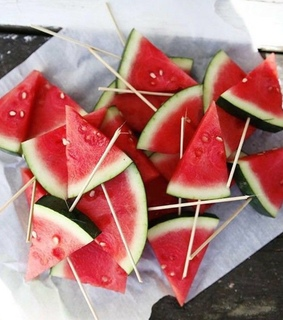 sticks, slices and watermelon