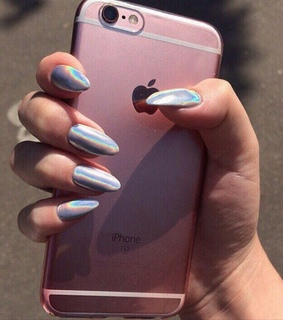 phone, iphone 6s and holographic nails