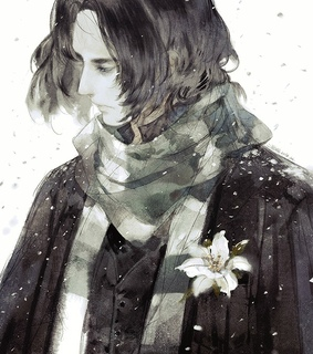 severus snape, closed eyes and snow