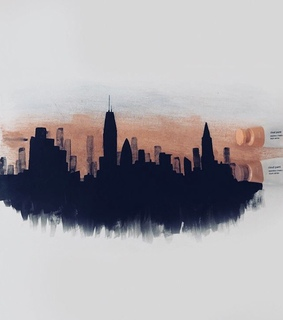 new york, dusk and painting