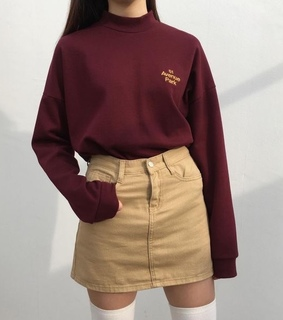 pencil skirt, red sweater and long sleeve