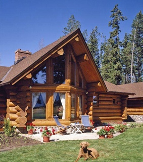 mountain living, house and log cabin