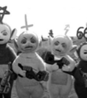 teletubbies, horror and black and white