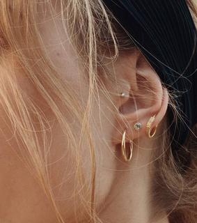 tragus, piercings and gold