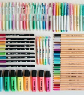 pens, wonderful and colored pencils