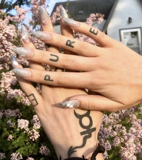 acrylic nails, tattoos and hand ink