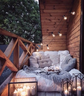 lights, beds and patio