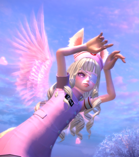 wings, pink angel and game