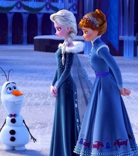 blue gown, elsa and blue