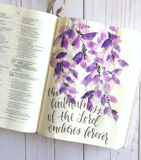 bible journaling, book and purple