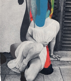 blue, red and collage art