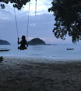 swing, paradise and sand