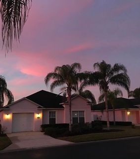 street, house and pink