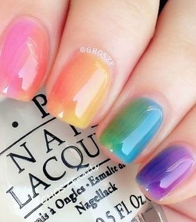 nail art, gradient nails and rainbow