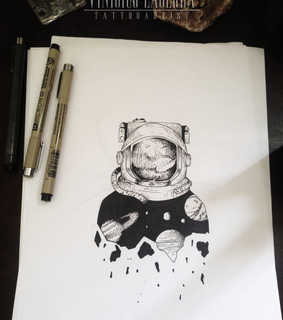 bw, linework and astronaut tattoo