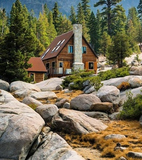 log cabin, cabin and home