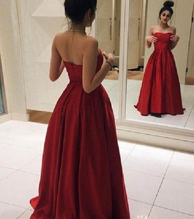 prom dress 2018, prom dress a line and backless evening dress