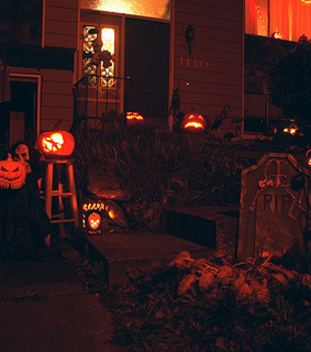 trick or treat, outdoor decorations and pumpkins