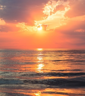 ocean, sunset and nature