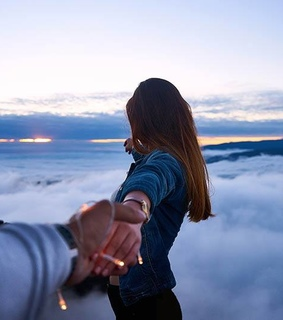 holding hands, clouds and sky