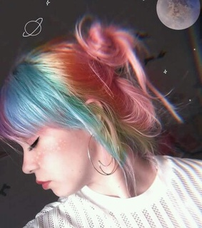 hairstyle, rainbow and light