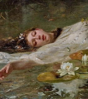 ophelia, painting and art detail