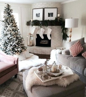 christmas tree, living room furniture and winter