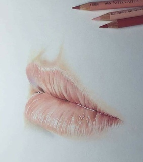 art, pencil drawing and lips