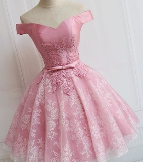 lace prom dress, a line prom dress and pink homecoming dresses