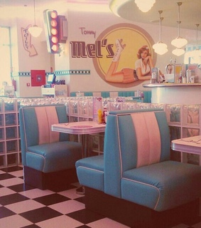 blue aesthetics, 50s and pink