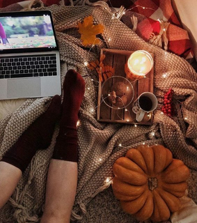 fall, hot cocoa and candle