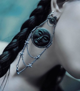 goth, earrings and moon