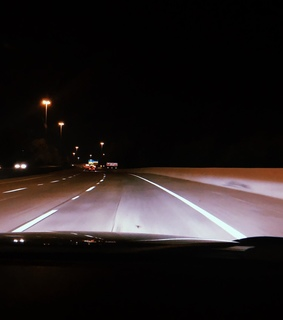 road trip, night drive and long road