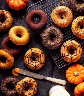 donut, brown and spider web