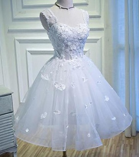 prom dress with appliques, prom dress white and sexy prom dress