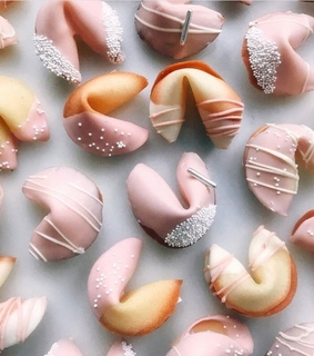 pastel colors, fortune cookie and chinese