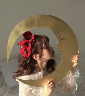 soft brown, moon and asians girl