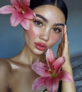 pink, flowers and pretty girl