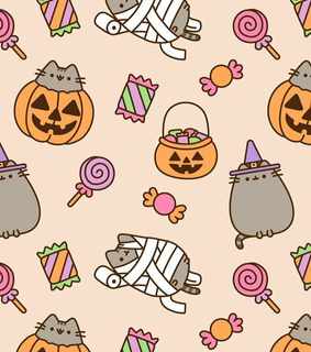 background, autumn and halloween pusheen