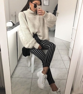 oversized sweater, fall outfit and stripes