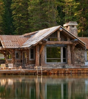 cabin, log cabin and forest