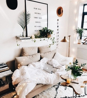 pillows, bed and interior