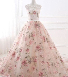ball gown prom dress, prom dress with appliques and beautiful prom dress
