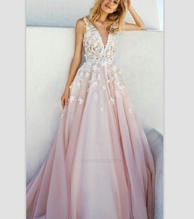 prom dress a line, pink prom dress and prom dress with appliques