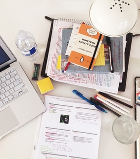 study place, notes and school supplies