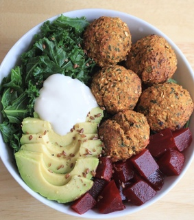 falafel, salad bowl and salad