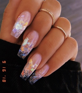 acrylic nails, glitter and holo nails
