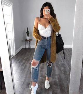 fall outfit, ripped jeans and fall look