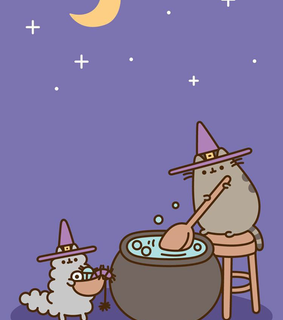 pusheen cat, wallpaper and halloween