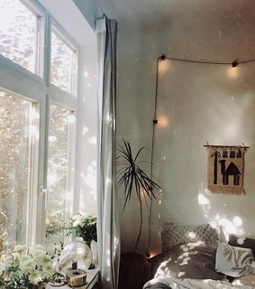 bedsheets, cute and big windows